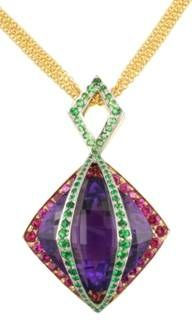 Dené Design 18K & Platinum 40ct Amethyst Amulet with Tsavorite Garnet & Pink Sapphire. Dene Gallery 331-241-0041