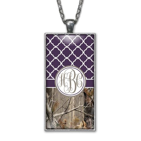 Dark Purple Quatrefoil Camo Monogram Pendant Charm Necklace Personalized Country Girl Silver Jewelry