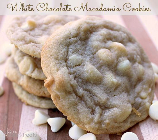 White Chocolate Macadamia Cookies ~ Soft, chewy cookies loaded with white chocolate chips and macadamia nuts!