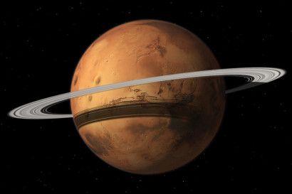 Marte perderá su luna mayor pero ganará un anillo. La mayor luna de Marte, Fobos, está lentamente cayendo hacia el planeta, pero antes de chocar contra la superficie es probable que se fragmente y los restos se repartan alrededor del planeta creando un anillo parecido a los que rodean Saturno, Júpiter, Urano y Neptuno. El final de Fobos no es inminente. Tal vez ocurra dentro de entre 20 y 40 millones de años, dejando un anillo que persistirá entre un millón y 100 millones de años.