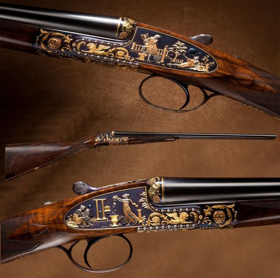 HOLLAND & HOLLAND BEST GUN SIDE BY SIDE SHOTGUN: This truly unique Holland & Holland is engraved by the famous Brown Brothers, utilizing a blued background with multicolored gold inlays and platinum.
