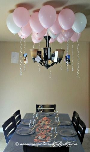 Put little love notes and messages in the balloons and pop them together after dinner. Great anniversary date idea!