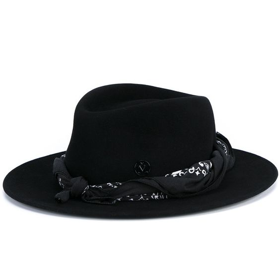 Maison Michel Felt Thadee Hat With Bandanna ($760) ❤ liked on Polyvore featuring accessories, hats, felt hat, western bandana, black and white hat, western felt hats and black and white bandana