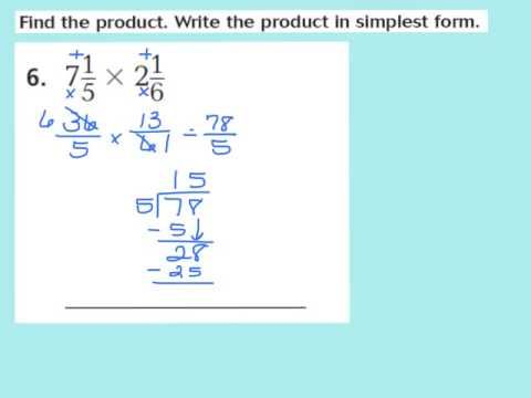 simplest form lesson 6.3 answer key Lesson 2.2 Multiply Mixed Numbers  Mixed numbers, Lesson, Math videos
