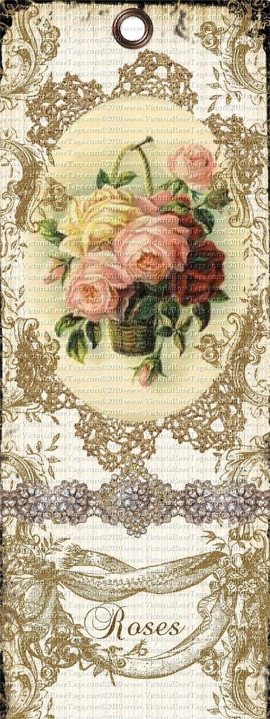Antique Roses | 0A001 Antique Style Shabby Grunge Bookmark Rose Basket You Print