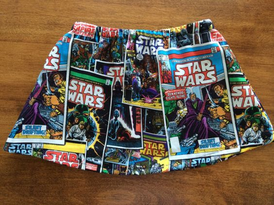 Little girl/toddler skirt featuring vintage Star Wars comic book covers. Luke Skywalker, Princess Leia, Ben Kenobi, Han Solo, Chewbaca and more