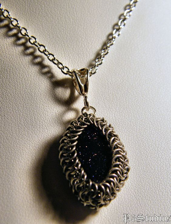 Blue Goldstone and Silver Fill Chainmaille Wrapped by boundinchain, $45.00