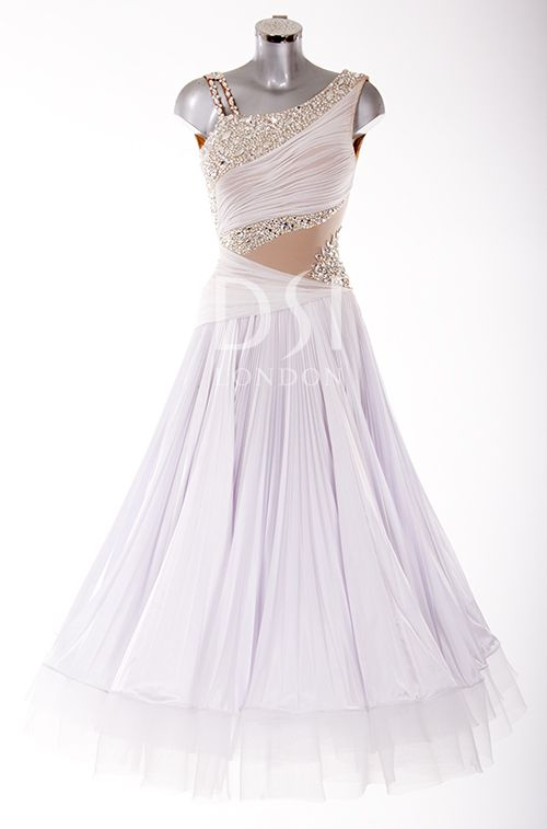 White Ballroom Dress as worn by Natalie Lowe on Strictly Come Dancing 2014. Designed by Vicky Gill and produced by DSI London