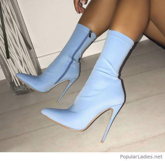 Amazing light blue boots | Heels, Boots