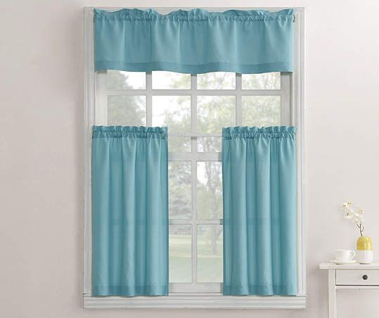 Living Colors Marla Mineral Blue Kitchen Tier Valance 3 Piece Set Big Lots In 2020 Kitchen Curtains Curtains Valance