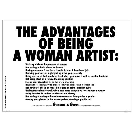 Guerrilla Girls The Advantages Of Being A Woman Artist Poster With Images Guerrilla Girls Female Artists Girl Posters
