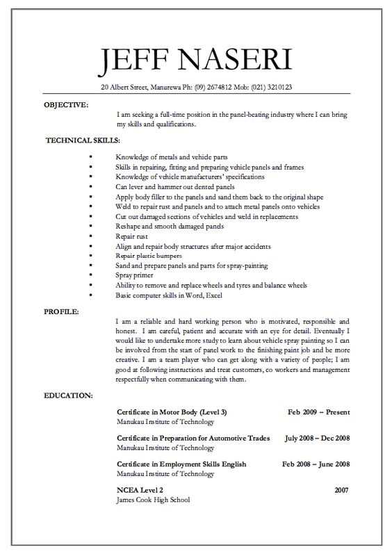 panel beater jobs resume -    resumesdesign panel-beater - billing manager sample resume