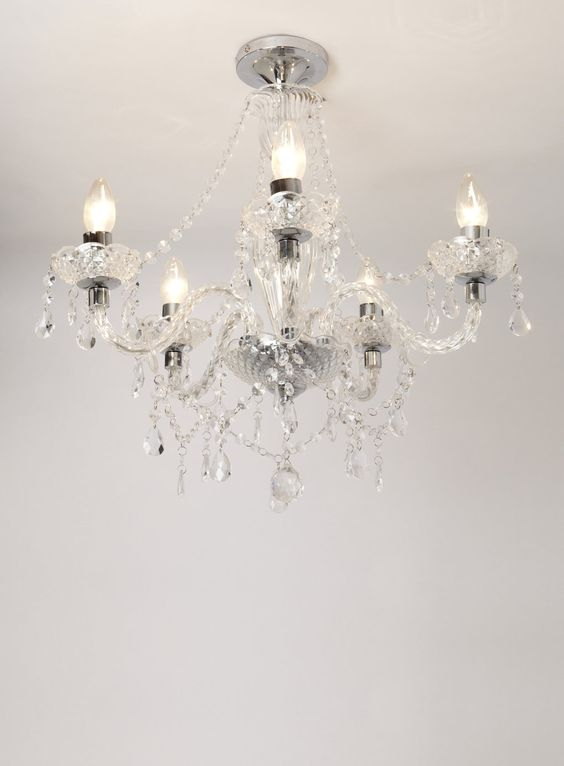 Chrome Bryony 5 Light Semi Flush Chandelier - BHS
