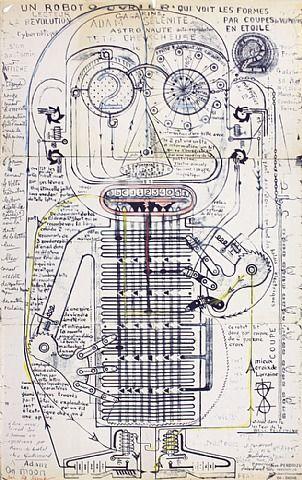 Jean Perdrizet, French inventor. This is a robot astronaut.  Sans titre (Un robot ouvrier qui voit les formes par coupes de vecteurs en étoile) | 1970 | Ronéotype, stylo à bille, feutre et crayons de couleur sur papier plié | 65 x 40 cm