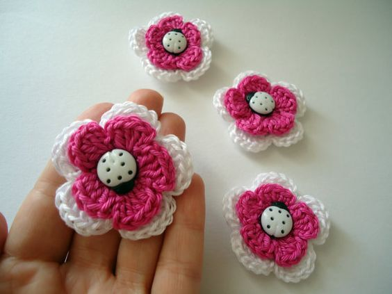 Crochet flower apliques sewing Embellishments by NikitasStore #nikitasstore