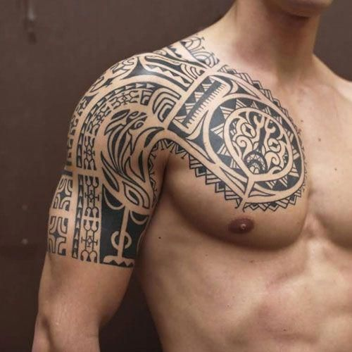 Cool Chest Shoulder And Upper Arm Tribal Tattoo Designs Best Tribal Tattoos For Men Cool Tribal Tribal Tattoos For Men Arm Tattoos For Guys Tribal Tattoos