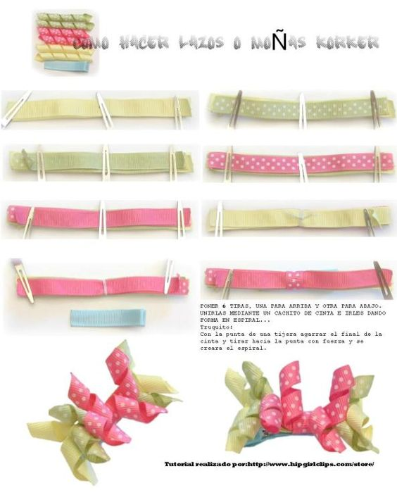 Paso a paso para hacer rizos con cintas para mo os o lazos - Lazos con cintas ...