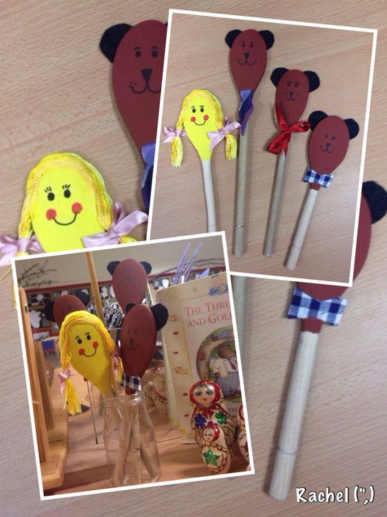 "Goldilocks & The Three Bears Puppet Spoons - from Rachel ("",)"