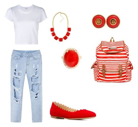 Red , White, And Blue by iloveyouzhay on Polyvore featuring polyvore, fashion, style, RE/DONE, Chloé, Jessica Simpson, Chanel, clothing, fashionista, stylish and fashionblogger