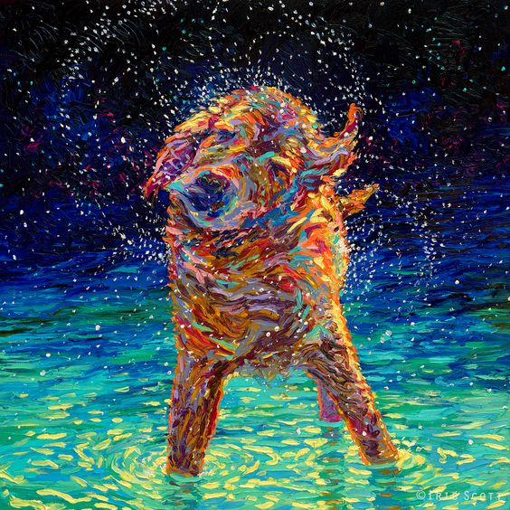 """Moonlight Swim."" Fingerpainting by Iris Scott (oil). 36x36in. SOLD. Print however are available at www.IrisScottFineArt.com   wet dog, dog art, painting, golden retriever, labrador, shakin' off the blues, swimming,"