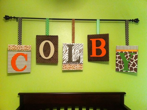 Scrapbook paper Mod Podge, ribbon, fabric, staplegun, canvases and a curtain rod