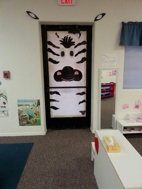 Zebra Classroom Ideas ~ Zebra door bulletin boards pinterest doors ems
