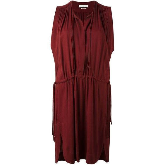 Isabel Marant Étoile 'Nicky' dress (1 700 PLN) ❤ liked on Polyvore featuring dresses, straight dress, red sleeveless dress, burgundy dress, pleated dresses and red pleated dress
