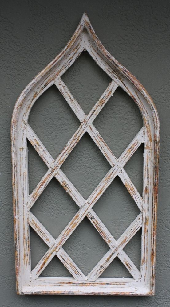Wooden Antique Style Church WINDOW Wrought Iron Primitive Wood Gothic 37 INCH