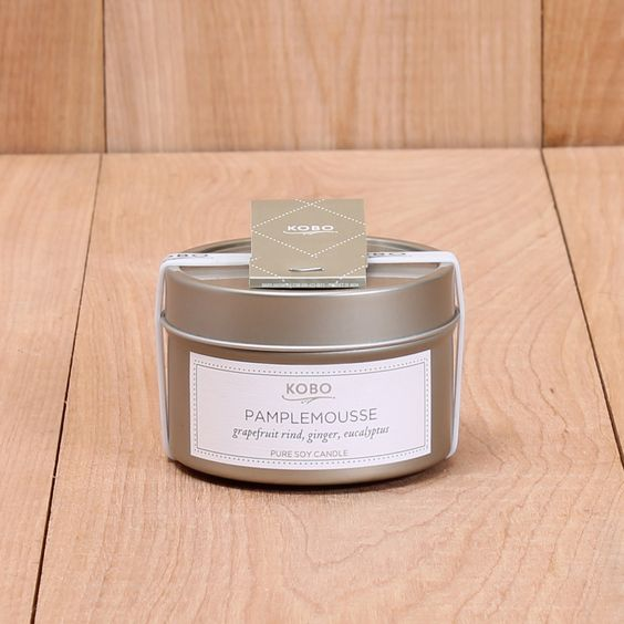 4oz travel tin. Made of domestically grown, sustainable soybean wax and cotton wicks, KOBO candles burn cleanly and have an excellent fragrance yield. Each travel candle comes complete with an extingu