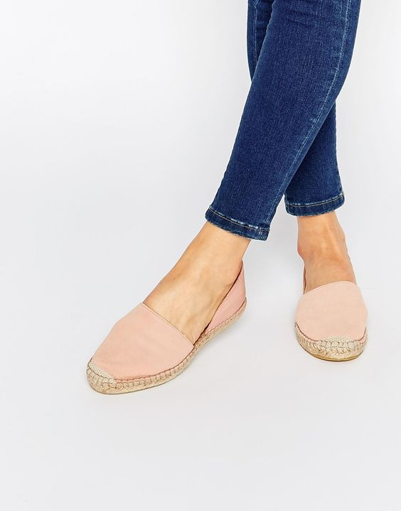 Image 1 of Pieces Jasha Nued Pink Leather Espadrille Two Part Flat Shoes