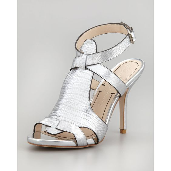 Elizabeth and James Tango Metallic Lizard-Embossed Sandal, Pewter ($350) found on Polyvore