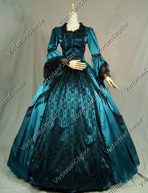 Marie antoinette victorian period dress satin lace ball for Period style wedding dresses