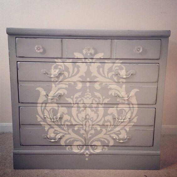Sold paris grey 3 drawer dresser with damask stencil - Gray shabby chic furniture ...