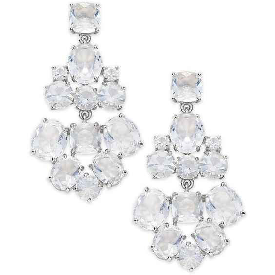 kate spade new york Earrings Silver-Tone Glass Bead Chandelier... (135 AUD) ❤ liked on Polyvore featuring jewelry, earrings, silvertone jewelry, kate spade jewelry, clear crystal jewelry, clear jewelry and kate spade earrings