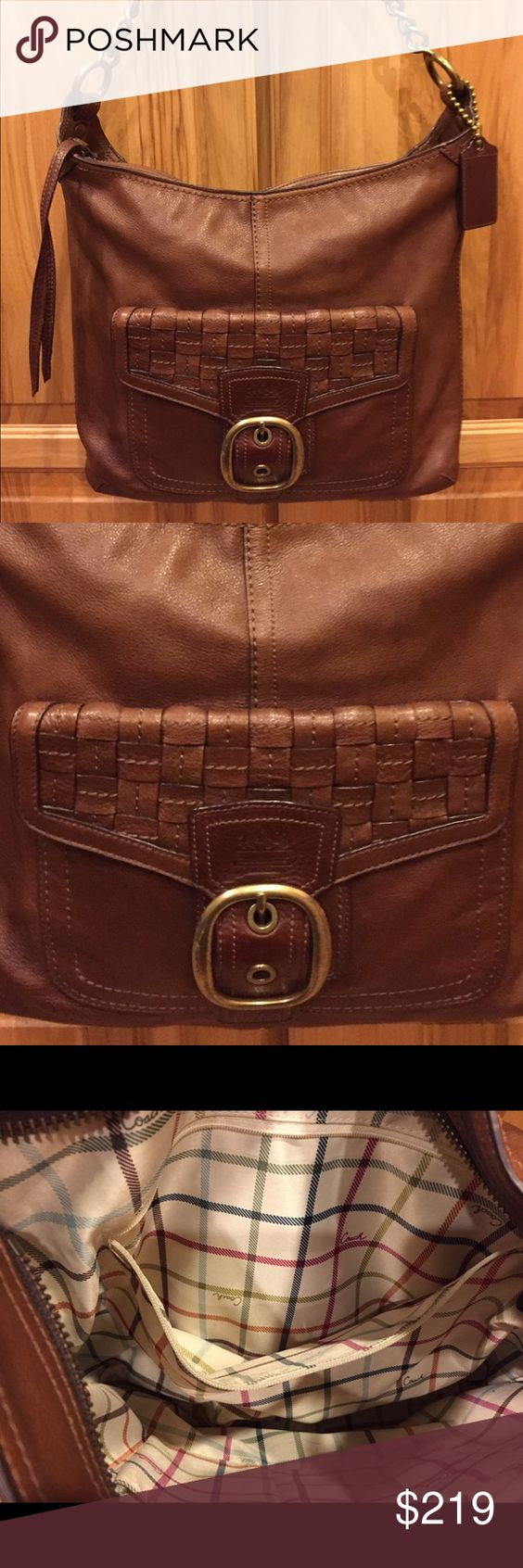 Brown Leather Coach Legacy Purse All soft leather bag with woven leather pocket on exterior front. Leather and chain shoulder strap. Legacy fabric lining (pic #3). Zippered pocket and 2 slip in pockets inside. Like new. Coach Bags Shoulder Bags