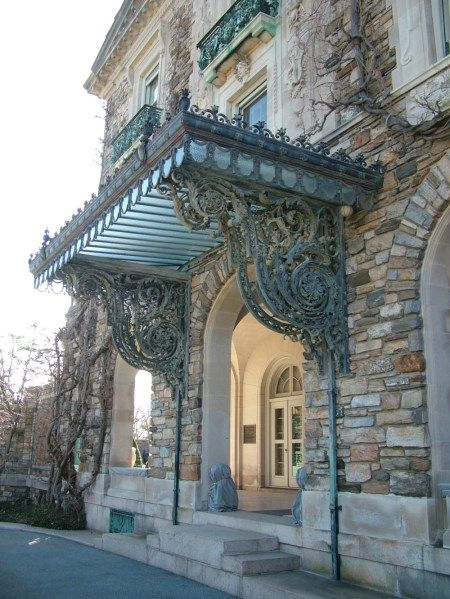 Iron & glass carriage port - note the steps, designed for easy exit from a horse-drawn carriage... This is perfect. <3