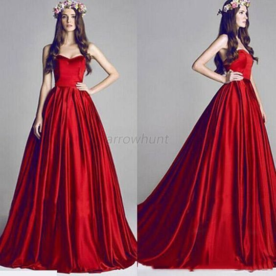 Details about Bride Bridesmaid Red Wedding Party Prom Ball Gown ...
