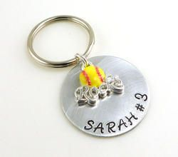 Softball Rocks Personalized Hand Stamped Keychain