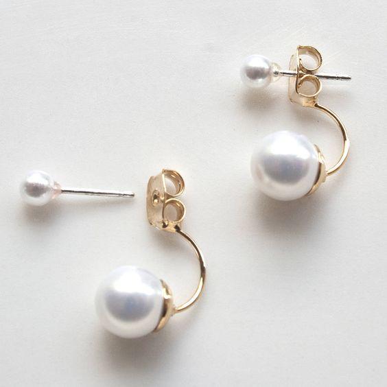 double pearl earrings by norigeh | notonthehighstreet.com