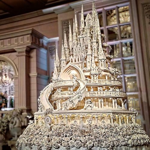 """Fairy tale Castle 4.5 meters wedding cake made by lenovellecake """"""""A pair of young and beautiful Indonesian celebrities have got the town talking over their epic wedding. Chelsea Olivia Wijaya and..."""