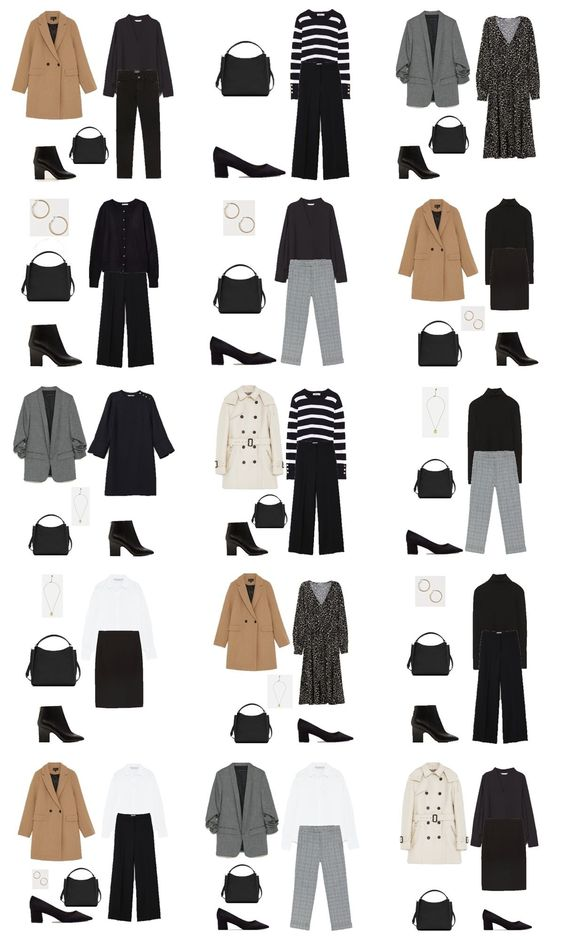 Autumn Capsule Wardrobe 2018. Workwear Outfit Options