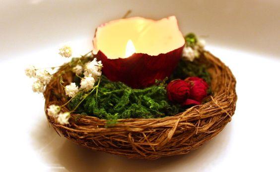 Ostara Celebration Ideas:  Eggshell Candles and OfferingNests:
