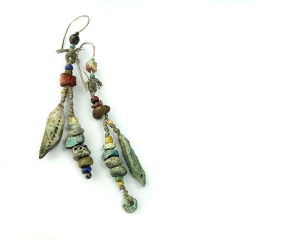 Artisan Earrings  porcelain dangle ceramic glass by greybirdstudio, £50.00