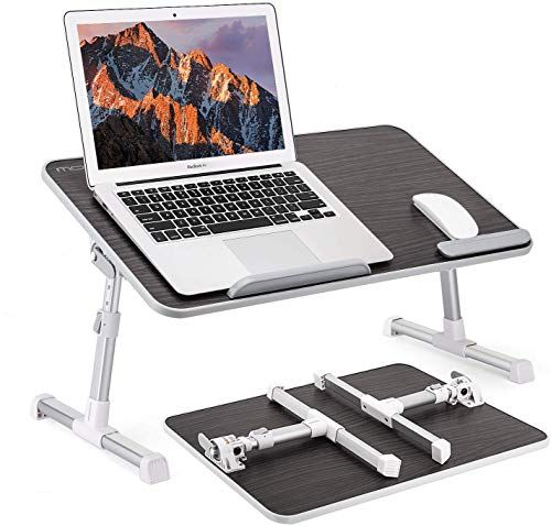 Buy Moko Laptop Bed Table Large Size Adjustable Laptop Stand Bed Portable Standing Desk Foldable Sofa Breakfast Bed Tray Computer Lap Desk Couch Floor Fit In 2020 Laptop Stand Bed Laptop Table