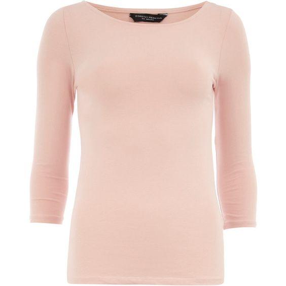 Nude 3/4 sleeve slash top ($11) ❤ liked on Polyvore