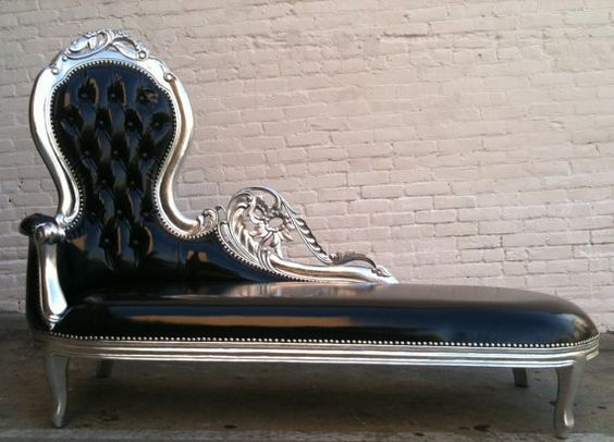 shiny black vinyl silver leaf wooded frame french chaise lounge sofa vintage hollywood regency glamor loveseat queen throne modern accents chaise lounge sofa modern