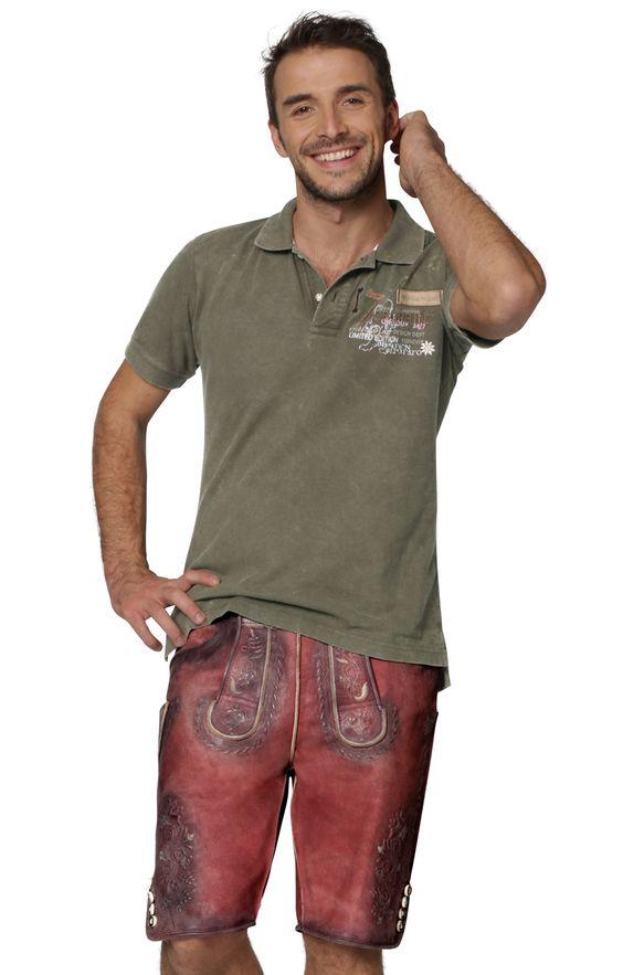Trachtenlederhose kurz - Oliver - altrot