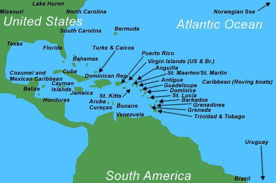 Map Of Caribbean Islands  Map of The Caribbean Region  Caribbean