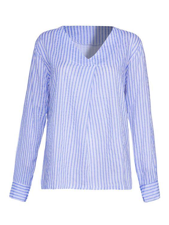 Buy Blue V-neck Stripe Print Split Side Blouse from abaday.com, FREE shipping Worldwide - Fashion Clothing, Latest Street Fashion At Abaday.com