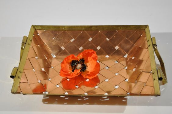 Rustic Copper basket.Woven solid copper strips with by decor4home2